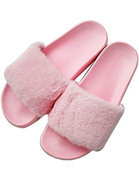 MStar Damen Hausschuh Weiche Flache Sandalen Flauschige mit Süßer Plüsch Pantoffel Outdoor/Indoor in 5 Farben