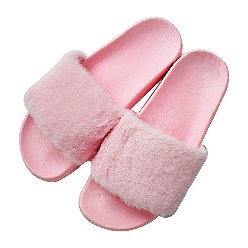 MStar Damen Hausschuh weiche flache Sandalen flauschige mit süßer Plüsch Pantoffel Outdoor / Indoor in 5 Farben