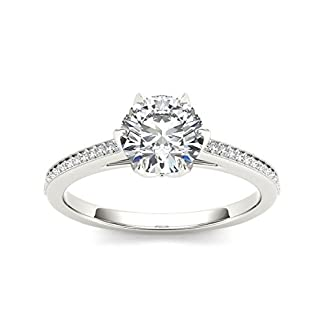 Solitaire House 18KT White Gold, Diamond and Cubic Zirconia Ring for Women