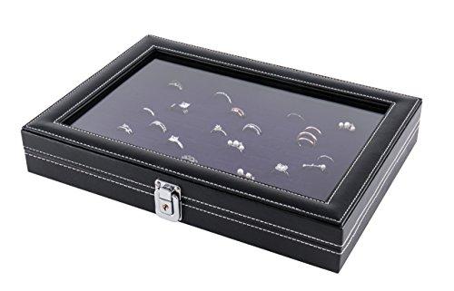 JackCubeDesign Schmuck Ring Display Organizer Aufbewahrungsbox Case Tray Halter mit 100 Slot Ring Display und Glasabdeckung (Schwarz, Innen Lila Samt, 33,8 x 23,6 x 5,3 cm) -: MK376B