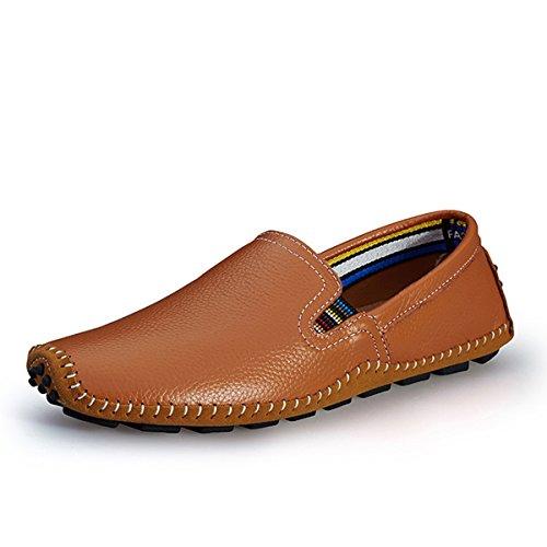 AFFINEST Herren Leder Slip-on lässige Loafer fahren Bootsschuhe (EUR45 Braun) (Loafer Bootsschuhe)