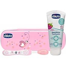 Chicco - Neceser set dental con cepillo y pasta fresa con flúor para 6-36