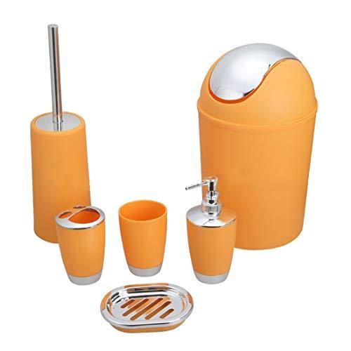 Formulaone 6 Teile/Satz Bad Zubehör Bin Seifenschale Spender Zahnbürstenhalter Bad Waschen Bad Set lagerung-Orange