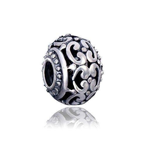 MATERIA 925 Silber Beads Kugel Element Kringel - European Silber Beads antik für Beads Armbänder bis 4,5mm #1551 - Hülse Kugel Mit Silber