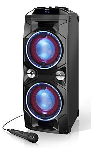 SHARP PS 940 Partylautsprecher mit DJ-Mischpult und eingebautem Akku, 14 Stunden Wiedergabezeit, Bluetooth, Ultra-Bass-Einstellung, Karaoke-Funktion, LED-Lichter blitzend zur Musik, 180 Watt