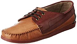Knotty Derby Mens Quoddy Derby Tan+Bodo+Navy Leather Boat Shoes - 10 UK/India (44 EU)