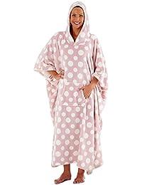 Albornoz de lujo con capucha para mujer, diseño de lunares, de Womens Inspirations