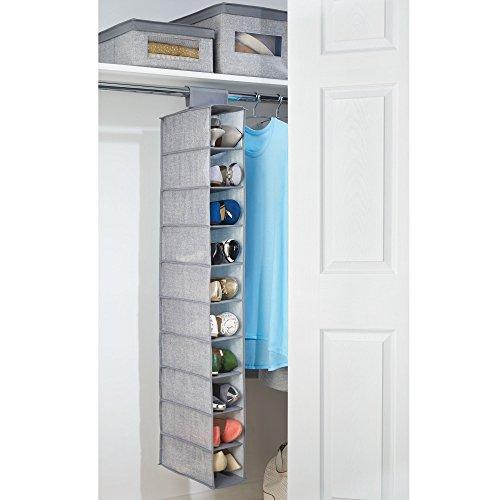 * MetroDecor mdesign Pensile per armadio, in tessuto con 10ripiani–Perfetto per vestiti, scarpe, accessori e molto altro ancora–grigio miglior prezzo