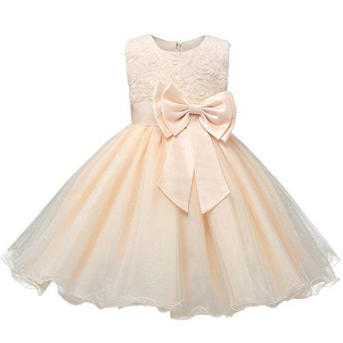 De feuilles Babykleid Mädchen Dress Ärmellos Ballkleid Hochzeitkleid Bowknot Prinzessinen-Kleid...