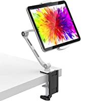 M&G Techno Tablet Desk Stand Holder - 360° Rotatable with Clamp Swivel Mount for All 4.7-11 Inch Tablets/iPad and Smartphones | Suitable for Table, Bed, Kitchen and Office