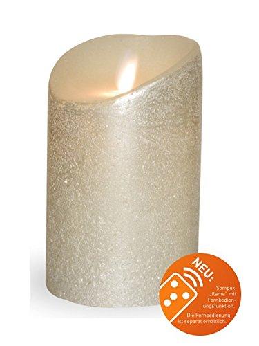 Silber-metallic Led (Sompex 35440 Flame Echtwachs LED Kerze, Fernbedienbar und integrierter Timer, silber metallic, 8 x 12.5 cm)