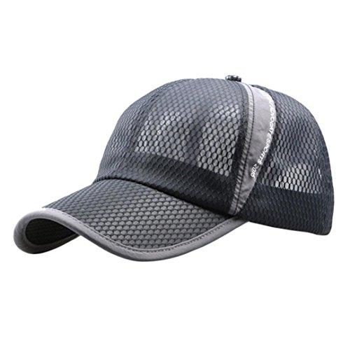 Ningsun Uomini e donne All'aperto Vacanza Parasole Cappello da sole Asciugatura veloce Ventilazione Cappello da Baseball/ Breathable Running Hat Mesh Sport Hat Unisex, Taglia Unica (Grigio)
