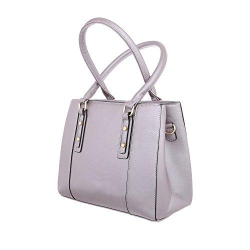 iTal-dEsiGn Damentasche Mittelgroße Schultertasche Handtasche Kunstleder TA-K697 Grau Lila