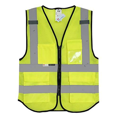 GST&GST Gelb Warnweste Sicherheitweste Mit Taschen Neon Unfallweste Mit Reflektorstreifen Und Reißverschluss Waschbar 360 Grad Reflektierende -
