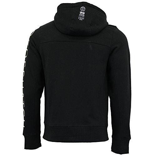 Herren Sweatshirt Crosshatch Top mit Kapuze Reißverschluss gehoben Aufdruck Fleece Freizeit Winter NEU schwarz - achizip