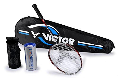 VICTOR Badminton Set, 1x Atomos 500 Racketbag / 3x Nylonball Badmintonschläger, Silber/Rot, 67.5 cm