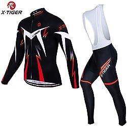 X-TIGER MTB Ciclismo Mangas Largas Maillots+5D Acolchado Gel Culotte Pantalones Cremallera Completa Transpirable Invierno Cálido Ropa Deportiva (Rojo, XL)