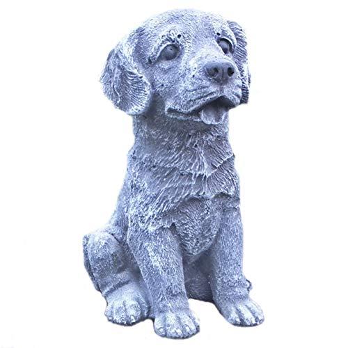 Steinfigur Hund Labrador Welpe Tierfigur Gartenfigur Steinguss Frostfest