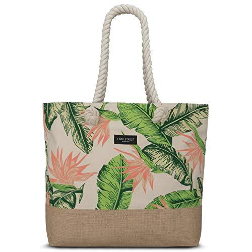 LARK STREET Strandtasche Floral Peach Beach Bag für Damen & Herren aus robustem Baumwoll Canvas & Jute - Badetasche mit Breiten Kordeln für angenehmen Große Tasche mit Reißverschluss - Tote Hand Schulter Tasche Handtasche