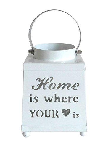 Home weiß ~ Metall Kerzenhalter Teelichthalter Mini Laterne (Kleine Weiße Laternen)