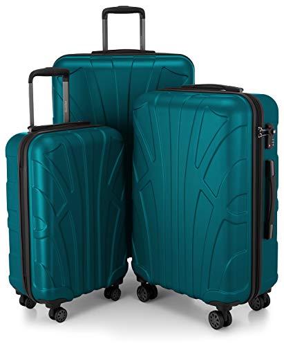 Suitline Koffer in 3 Größen, Trolley-Set Rollkoffer Hartschalen-Koffer Reisekoffer (55 cm, 66 cm, 76 cm) Zwillingsrollen, 15