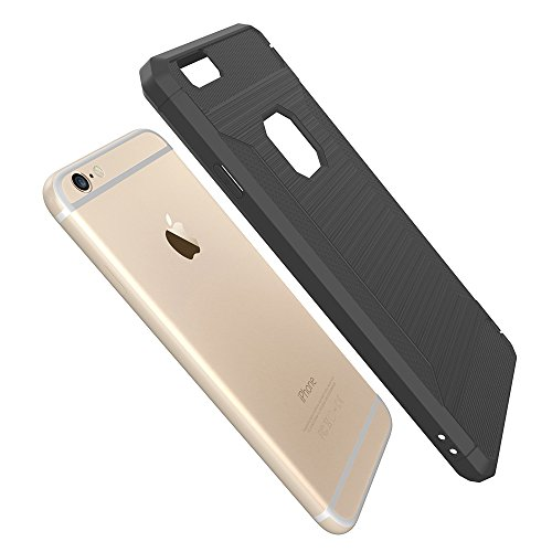 Custodia per iPhone 6 Plus,per iPhone 6S Plus Cover, ZCRO Semplice Stile Flessibile Custodia Silicone Carbonio Antiscivolo TPU Gomma Morbida Bumper Protettiva Antiurto Resistente Case Cover per iPhone Grigio