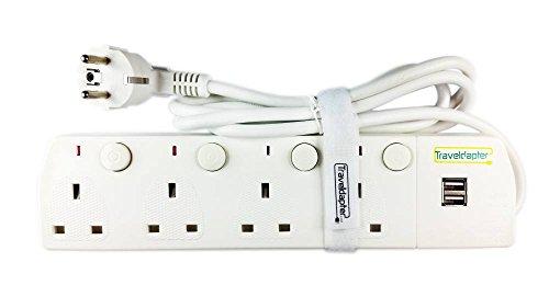 Adaptador de viaje EUROPA Cable de Extensión Multi Seguro de Strip 6 entradas cable ultracompacto para vacaciones 2 clavijas con conexión a tierra enchufe tipo F 4 enchufes tipo G 2 puertos USB 1.5 m blancom White
