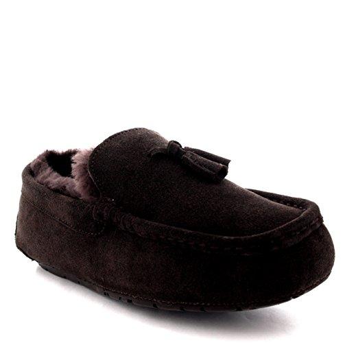 Homens Moccasins Borla Australiano Ovelhas Pele Sapatos Baixos Chinelos Marrom
