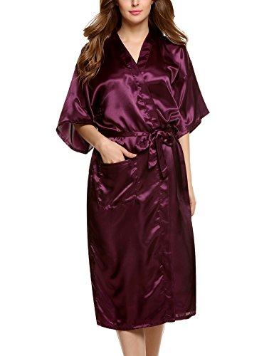 mono Bademantel Robe Lange Nachtwäsche Saunamantel Nightwear Pyjama mit Taschen Morgenmantel Dunkelviolett XL (Satin Robe Mit Kapuze)