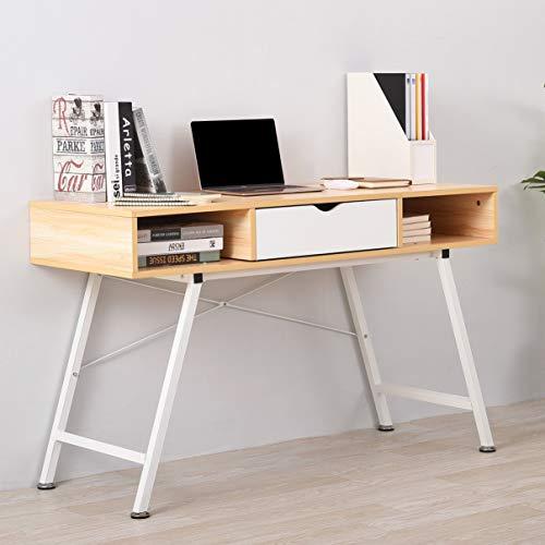 Ruication Computer-Schreibtisch mit 1 Schublade 2 Ablagen Holz Computer-Schreibtisch Schreibtisch Schreibtisch Eichen-Finish PC Laptop Tisch Home Office Möbel Maple Color - 2 Schubladen Holz-finish Tisch