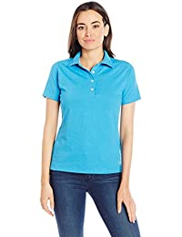 Hanes Women's X-Temp Performance Polo, Neon Blue Heather, S