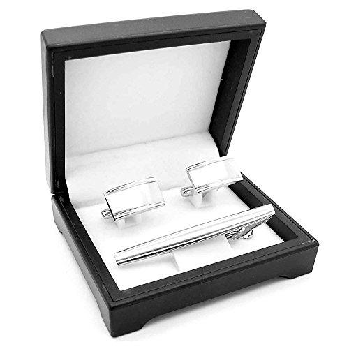 1 Set Manschettenknöpfe + Box + Krawattennadel Manschetten Cufflinks Edelstahl Gebürstet Silbern Hemd Anzug Hochzeit, Modell:Modell M10a