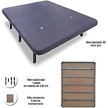 HOGAR24 Base tapizada con 5 barras transversales + 7 patas de metal, con tejido 3D (150X190-PATAS 26 cm)