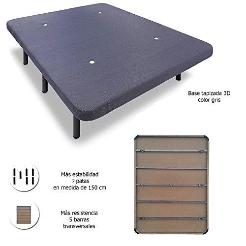 Hogar24 - Base tapizada con 5 barras transversales + 7 patas de metal, con tejido 3D (150X190-PATAS 26 cm)