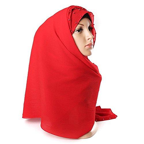 WINWINTOM Schal Super Weichen Islam Muslim Einfarbig Damenschal Frauen Mädchen Scarves Frauen Perle...