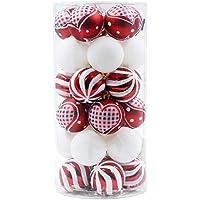Valery Madelyn 30tlg 6cm Plastik Weihnachtskugeln Lieber Weihnachtsmann Thema Rot Weiß Bruchsicher Christbaumkugeln mit Aufhänger Weihnachtsbaumschmuck Weihnachten Dekoration