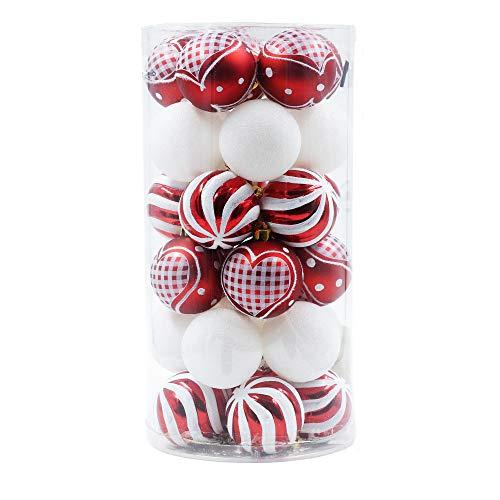 Valery madelyn natale d'inverno set di 30 pezzi 60mm tradizionali palle infrangibili di natale in rosso e bianco glitterato glassato di plastica palla di natale per l'albero di natale decorazione