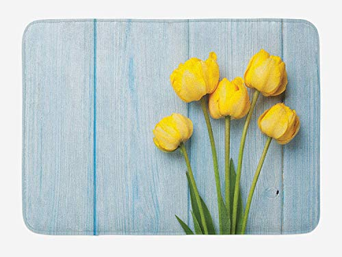 tgyew Tulip Bath Mat, Yellow Flowers on Old Wooden Rustic Background Valentines Romantic Theme, Plush Bathroom Decor Mat with Non Slip Backing, 23.6 W X 15.7 W Inches, Baby Blue Yellow Green Floral Tulip-rock
