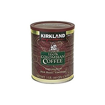 2 X Kirkland Signature 100% Colombian Filter Coffee Supremo Bean Dark Roast Fine Grind 1.36kg