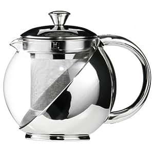Kabalo 750ml moderne Sylish en acier inoxydable et verre théière de thé LOOSE LEAF INFUSEUR [750ml Modern Sylish Stainless Steel & Glass Teapot WITH LOOSE TEA LEAF INFUSER]