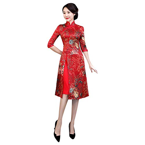 Cheongsam Kleid Muster (Meijunter Damen Chinesisches Qipao - Vorderer Schlitz Cheongsam Elegantes Vintage Abendkleid Partykleid)