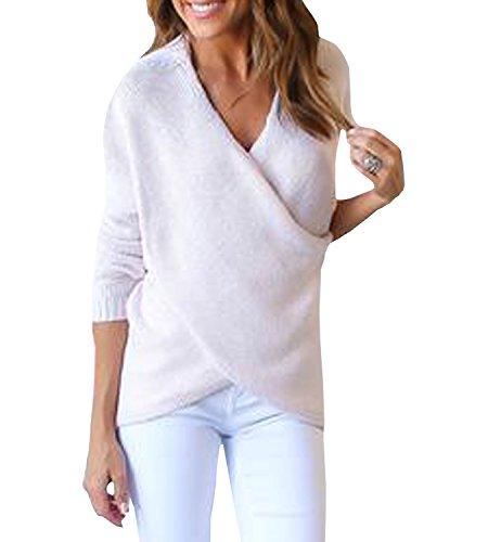 365-Shopping Damen Sweater Pullover mit V-Ausschnitt Cross Wrap Strickjacke Strickpullover Pulli (M(EU 36-38), Weiß) (Wrap Pullover)