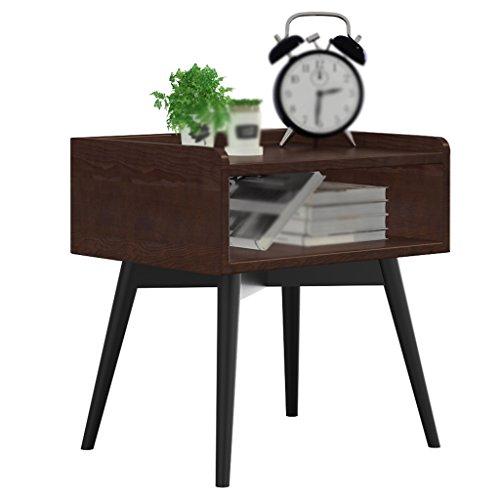 LI Jing Shop - Bois Massif Style américain Meubles en Fer Tables de Chevet Table Basse Moderne de la simplicité de la Chambre Armoire de Rangement (Couleur : Noyer Couleur)
