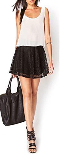 MIXLOT Nouvelles femmes sexy formelle Floral Black Lace Flare Stretch Skater Mini jupe Black Lace Skirt