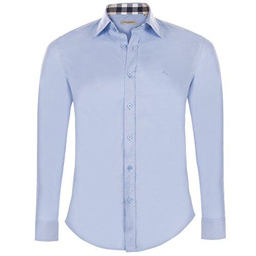 Burberry camicia uomo manica lunga colore celeste (xl)
