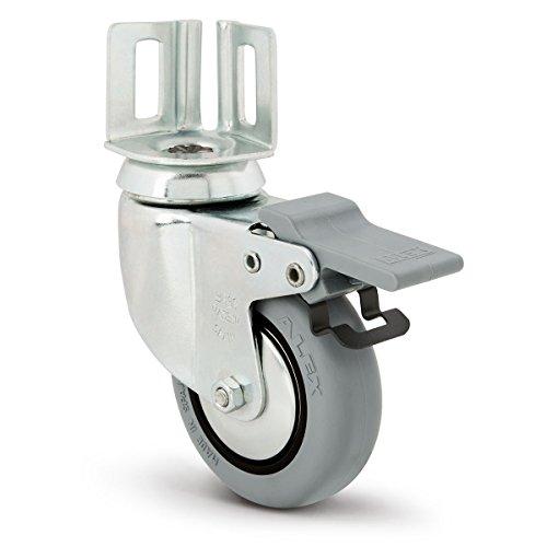 Alex bh-pgi WW–Lenkrolle mit Platte und Bremse, Gummi, Platte: 40mm x 40mm, Durchmesser: 80mm) grau