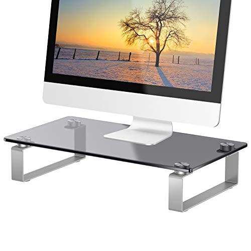 Huanuo supporto monitor vetro - supporto per monitor con gambe antiscivolo, vetro temperato supporto per schermo ergonomico adatto per tv lcd led monitor, notebook, computer fino a 20 kg