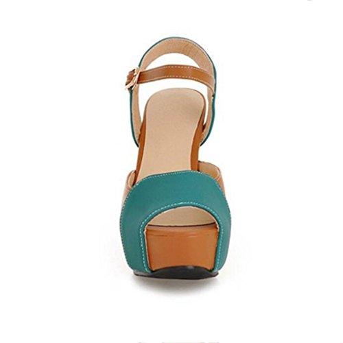 W&LM Signorina Tacchi alti sandali Bocca di pesce Scarpa Ultra Tacchi alti Ruvido Piattaforma impermeabile sandalili Green