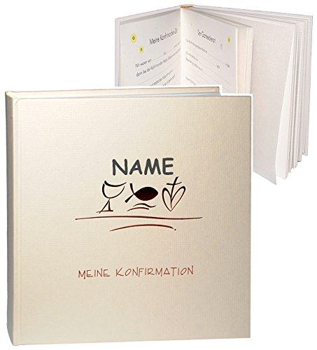 Fotoalbum / Konfirmationsalbum -  Meine Konfirmation  - incl. Name - Gebunden blanko - für bis zu 180 Bilder zum Einkleben - Fotobuch / Photoalbum / Album -..