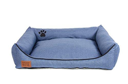 Golden Dog Hundebett Hundesofa Hundekissen Abnehmbarer Bezug Pflegeleicht abwaschbar Jeansblau XL 100x80cm